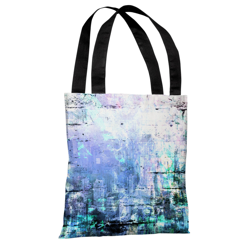 Graffiti Stain 2 - Blue Multi Tote Bag by OBC