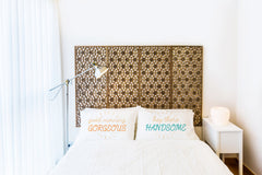 Good Morning Gorgeous, Hey There Handsome - Multi Set of Two Pillow Case by OneBellaCasa
