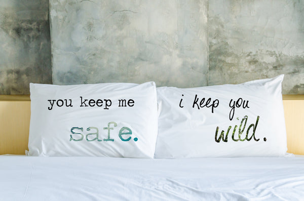 Keep Me Safe, Keep You Wild - Multi Set of Two Pillow Case by OneBellaCasa.com