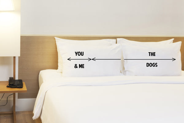 You & Me and The Dogs Space - Black Set of Two Pillow Case by OneBellaCasa