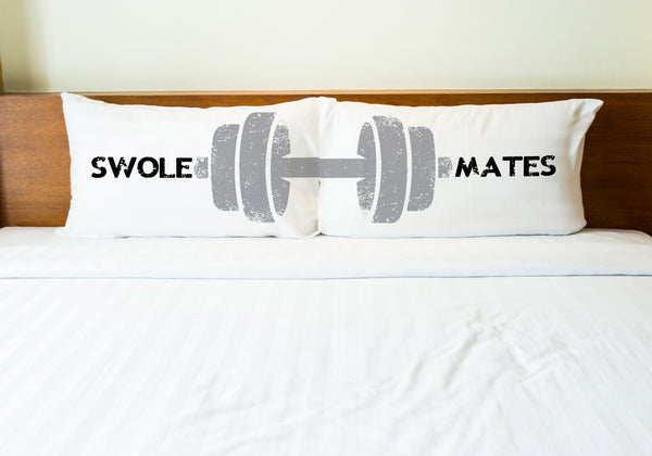 Swole Mates - Black Gray Set of Two Pillow Case by OneBellaCasa.com