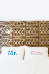Mr. Mrs. - Navy Pink Set of Two Pillow Case by OneBellaCasa.com