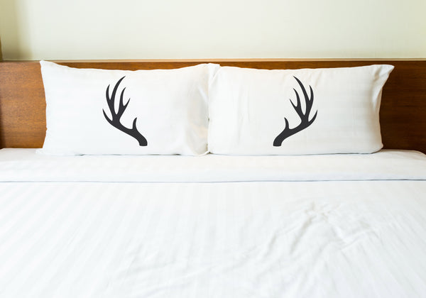 Antlers - Charcoal Pillowcase by OBC