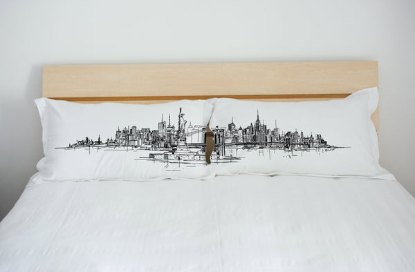 New York Skyline - Black Set of Two Pillow Case by OneBellaCasa.com