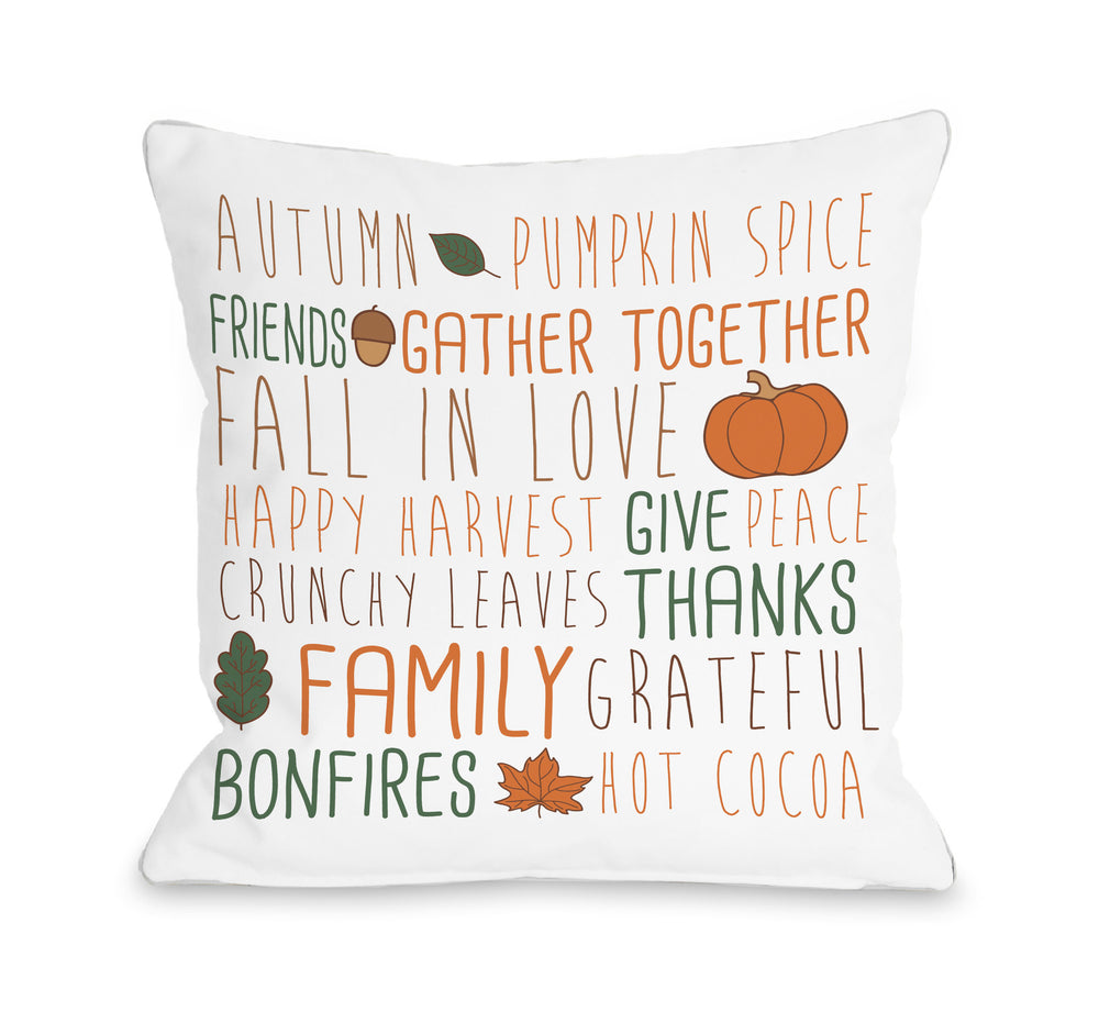 Harvest Word Collage - White Multi Throw Pillow by OBC