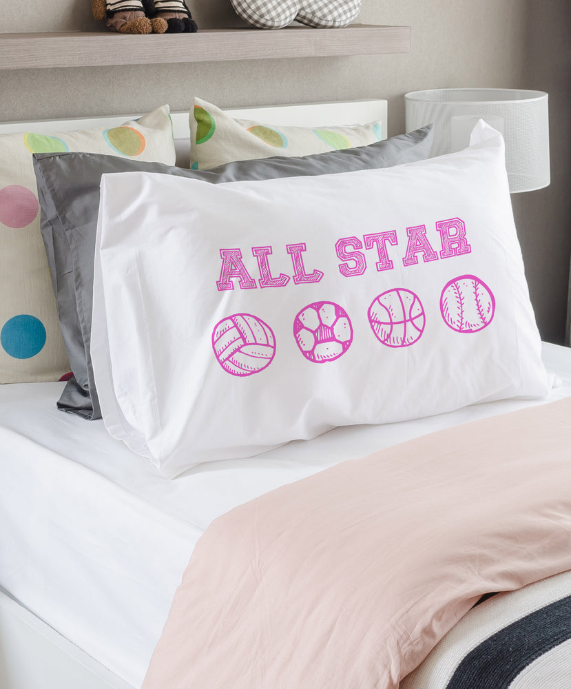 All Star Pink Single Pillowcase By OBC