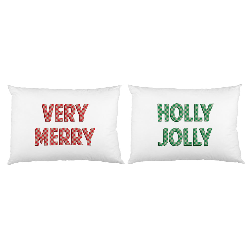 Very Merry Holly Jolly Plaid - Red Green Set of 2 Pillow Case by OBC