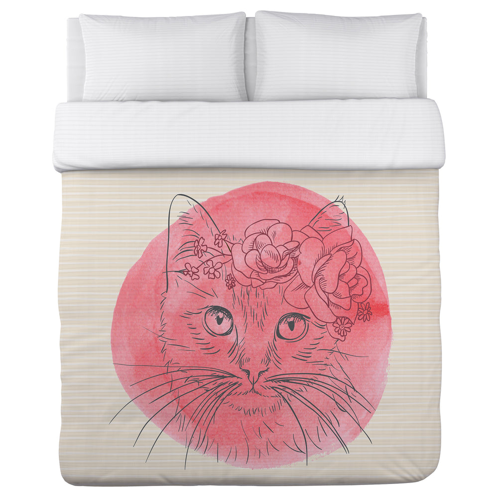 Flower Crown Cat - Tan Pink Lightweight Duvet Cover by OBC