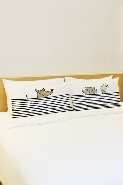 Peeking Pet Lines - Black Multi Pillowcase by OBC
