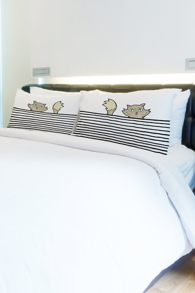 Peeking Cat Lines - Black Multi Pillowcase by OBC