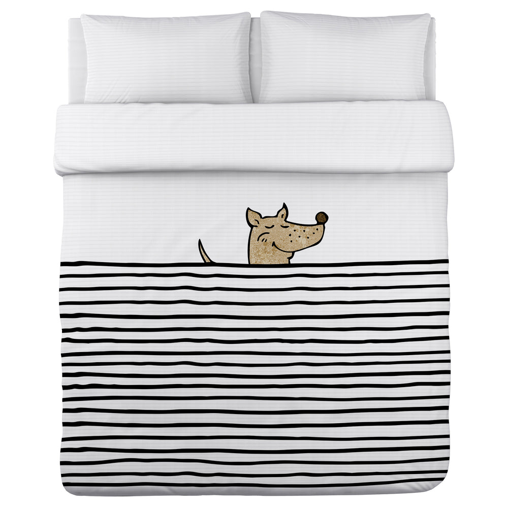 Peeking Dog Lines - Black Multi Lightweight Duvet Cover by OBC