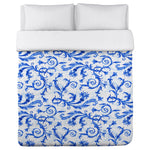 Royal Flower Swirls - Blue Lightweight Duvet Cover by OBC