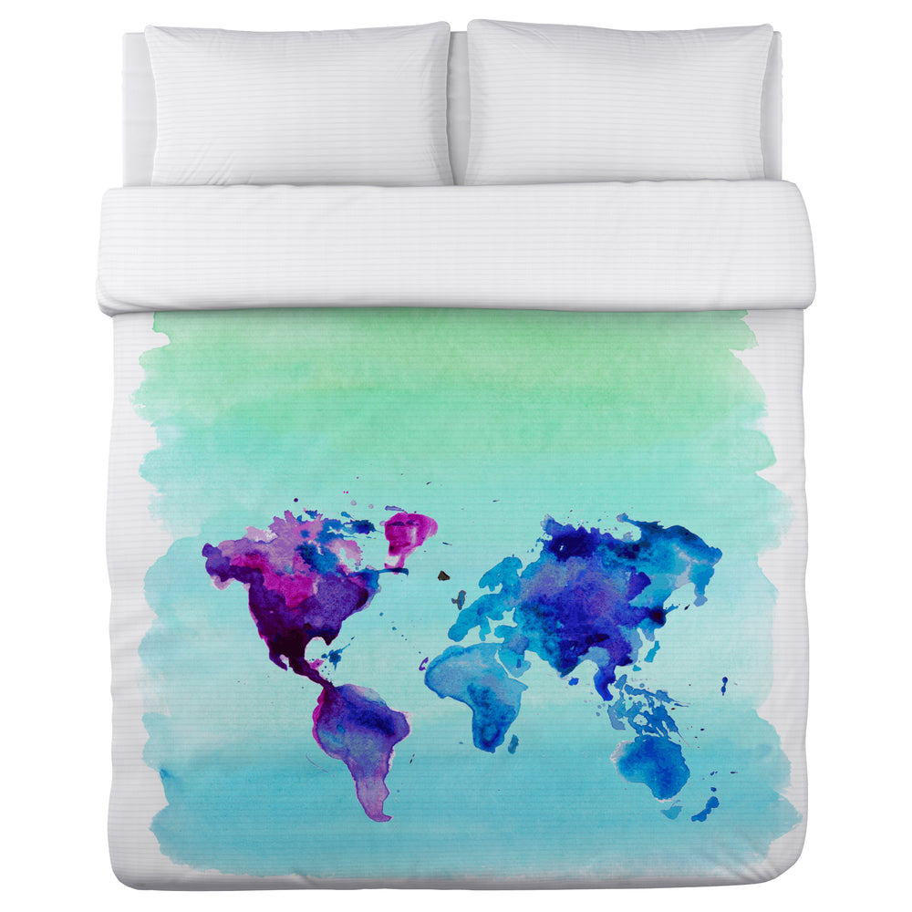 World in Watercolor - Multi Lightweight Duvet Cover by OBC