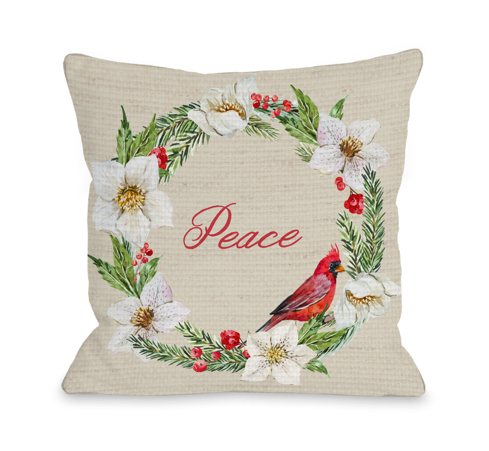 Cardinal Wreath Peace - Tan Throw Pillow by OBC