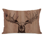 Moose Wood - Brown Throw Pillow by OBC