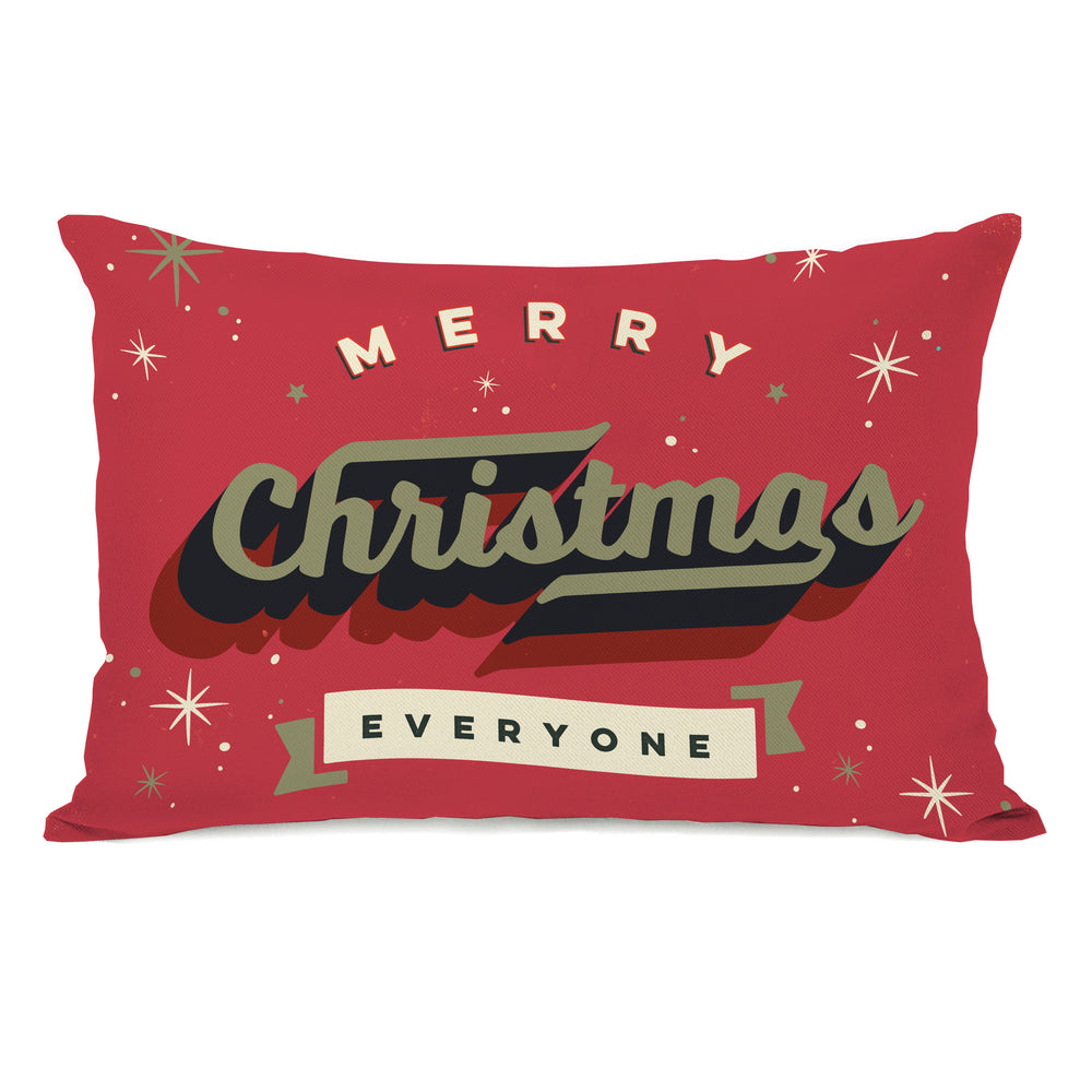 Vintage Christmas Card - Red Throw Pillow by OBC