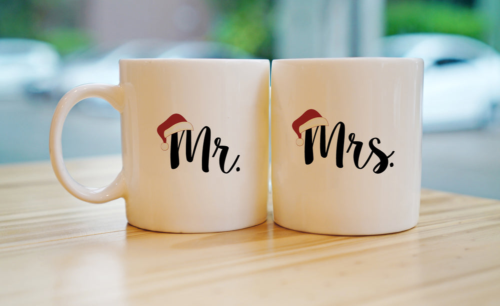 Mr and Mrs. Santa Hat Set of Two Mugs