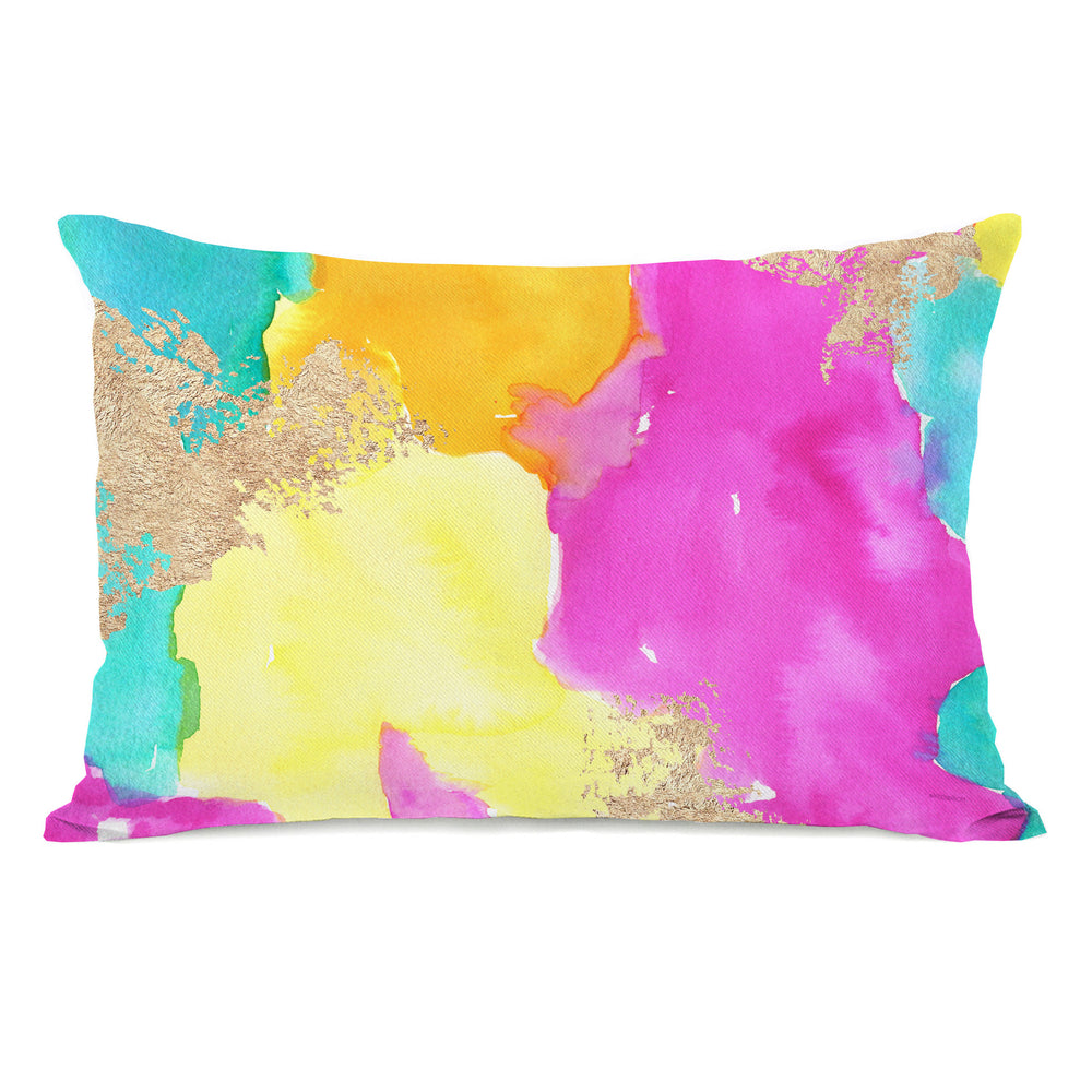 Color Splash - Blue Multi Throw Pillow by lezleeelliot