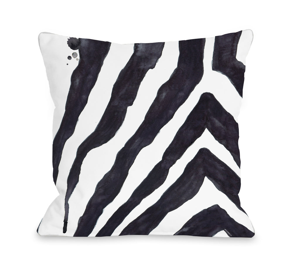 Stripey Zebra - White Black Throw Pillow by lezleeelliot