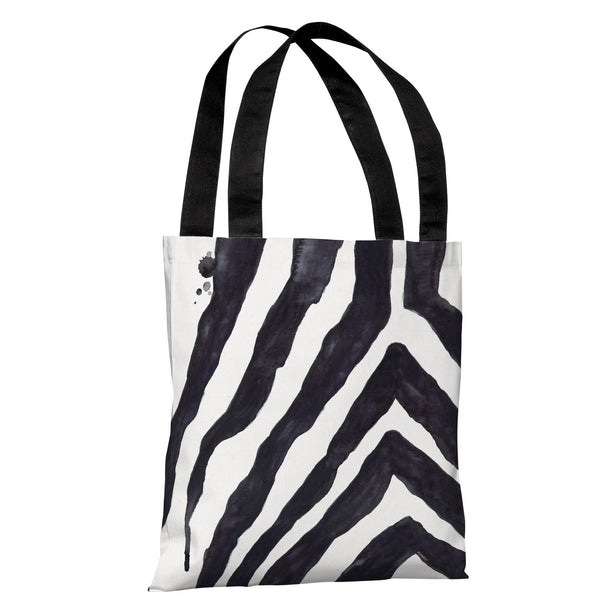 Stripey Zebra - White Black Tote Bag by lezleeelliot