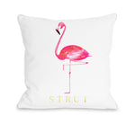 Flamingo Strut - White Pink Throw Pillow by lezleeelliot