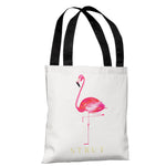 Flamingo Strut - White Pink Tote Bag by lezleeelliot