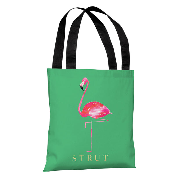 Flamingo Strut - Green Pink Tote Bag by lezleeelliot