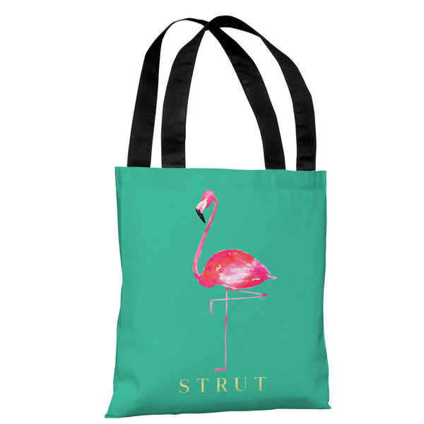 Flamingo Strut - Teal Pink Tote Bag by lezleeelliot