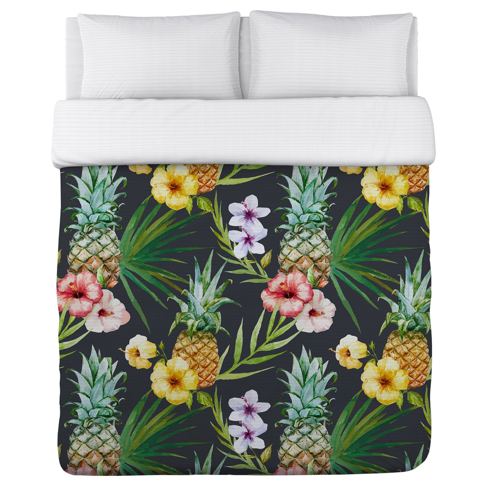 Hawaiian Pineapples - Multi Lightweight Duvet Cover by OBC