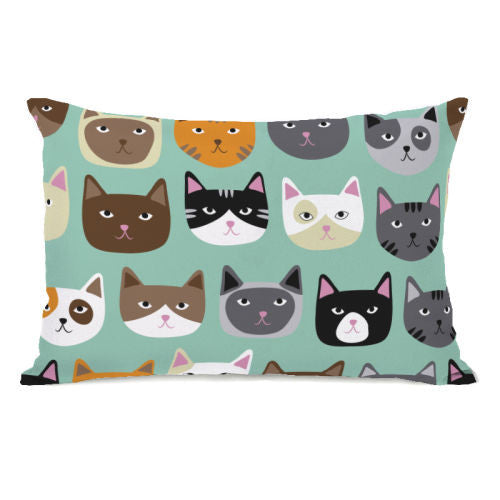 Cat Smiles Throw Pillow by OBC