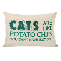 Cats Are Like Potato Chips Throw Pillow by OBC