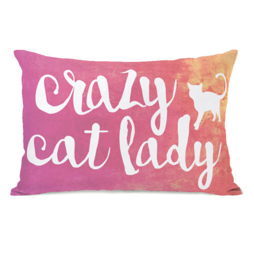 Crazy Cat Lady Paint Throw Pillow by OBC