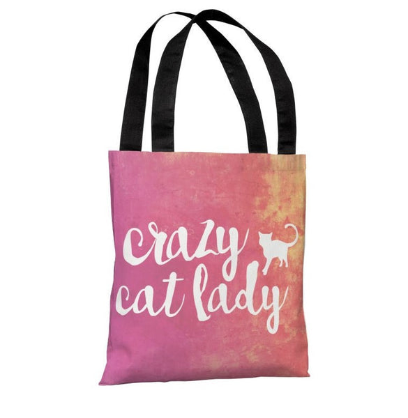 Crazy Cat Lady Paint Tote Bag by OneBellaCasa.com