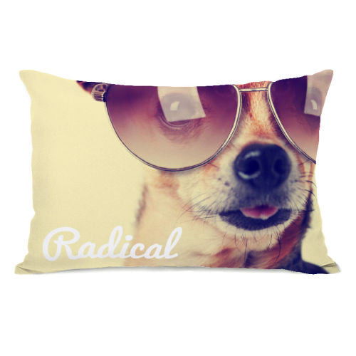 Radical Pup Throw Pillow by OBC