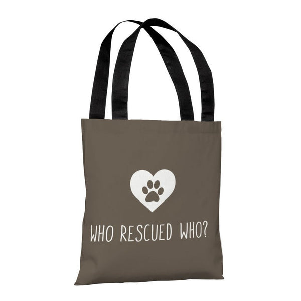 Who Rescued Who Tote Bag by OneBellaCasa.com
