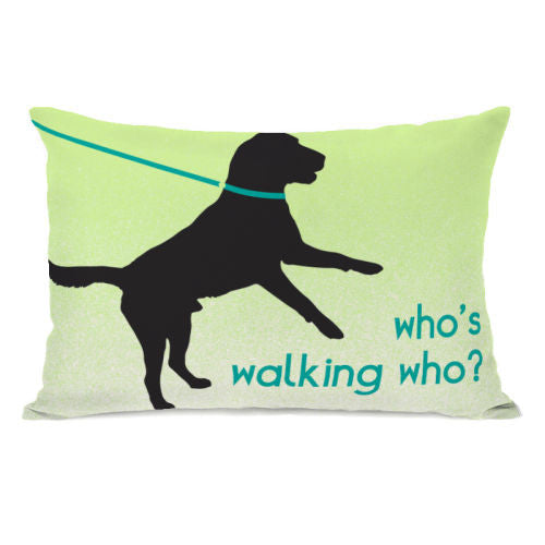 Whos Walking Who Throw Pillow by OBC