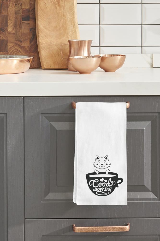 Good Morning Cat Kitchen Towel By OBC