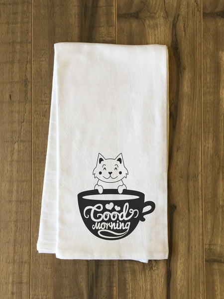 Good Morning Cat Tea Towel by OneBellaCasa.com