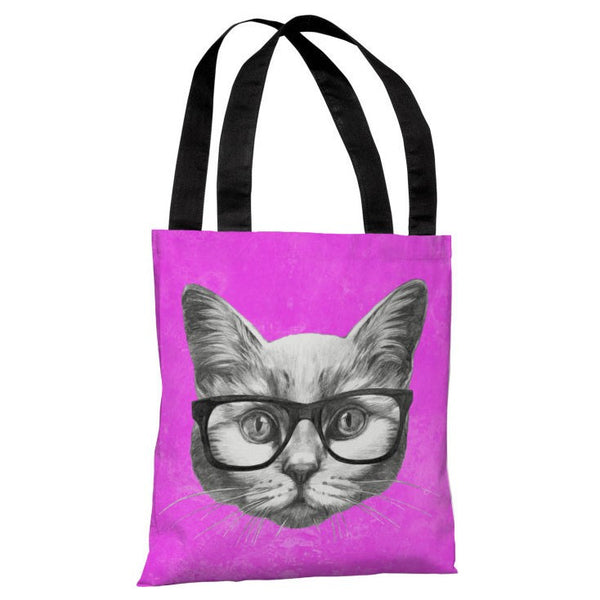Hipster Cat Tote Bag by OneBellaCasa.com