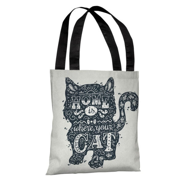 Home Is Where The Cat Is Tote Bag by OneBellaCasa.com