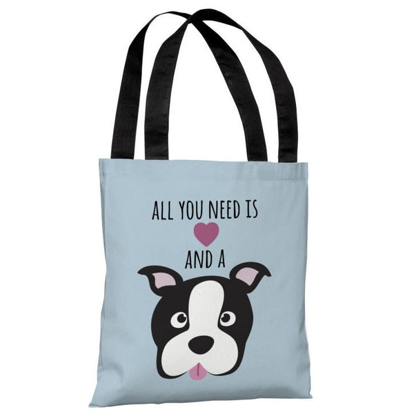 Love and a Dog Heart Tote Bag by OneBellaCasa.com