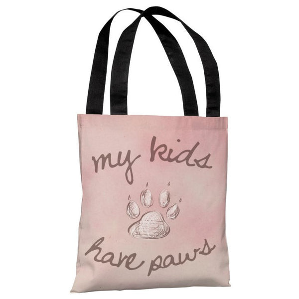 My Kids Have Paws Tote Bag by OneBellaCasa.com