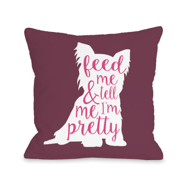 Feed Me And Tell Me I'm Pretty Solid Throw Pillow