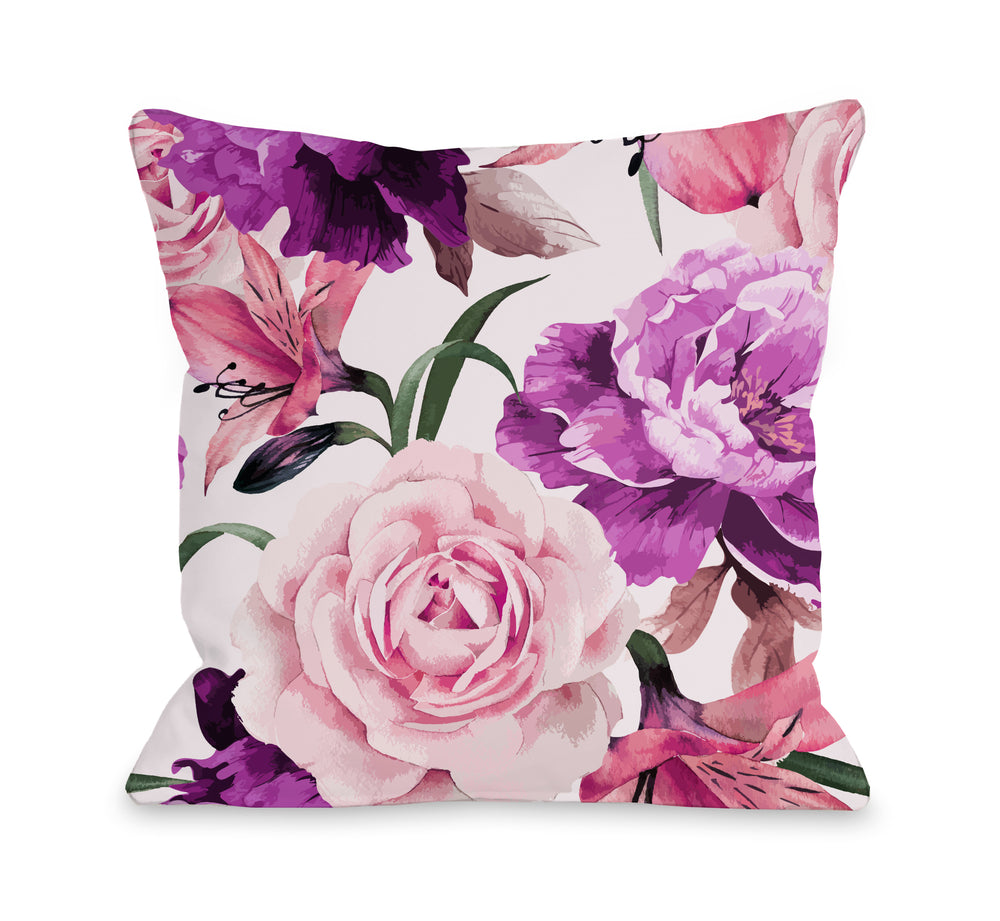 A Floral Afternoon Outdoor Throw Pillow by OBC