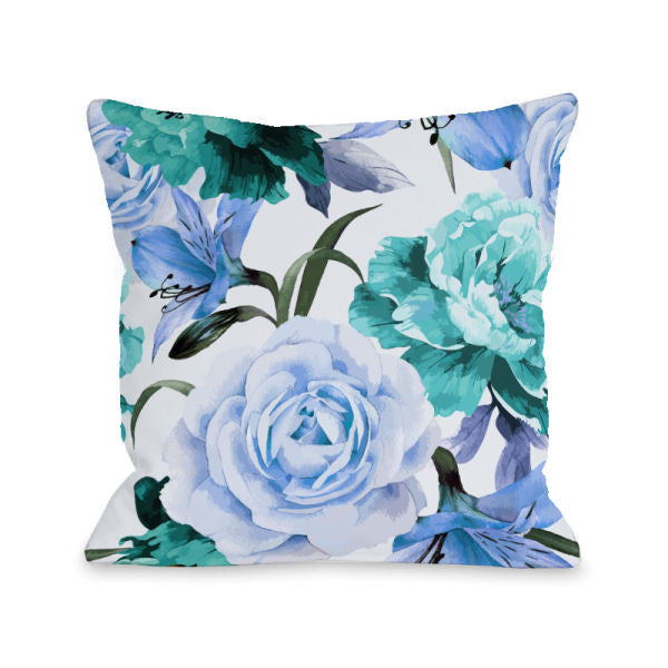 A Floral Afternoon Periwinkle Outdoor Throw Pillow by OneBellaCasa.com
