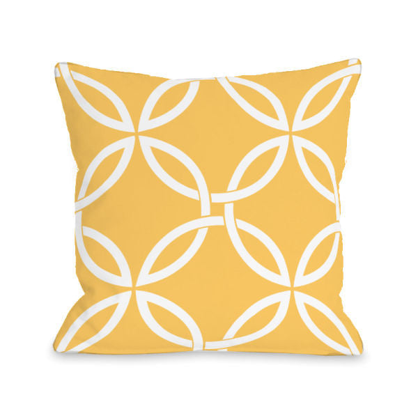 Interwoven Circles Dandelion Outdoor Throw Pillow by OBC