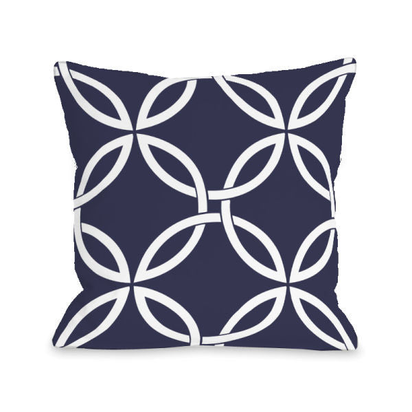 Interwoven Circles Midnight Outdoor Throw Pillow by OBC