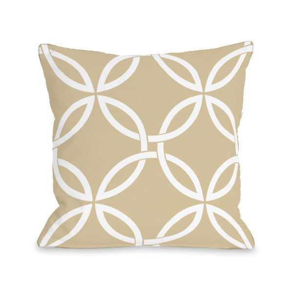 Interwoven Circles Sand Outdoor Throw Pillow by OBC