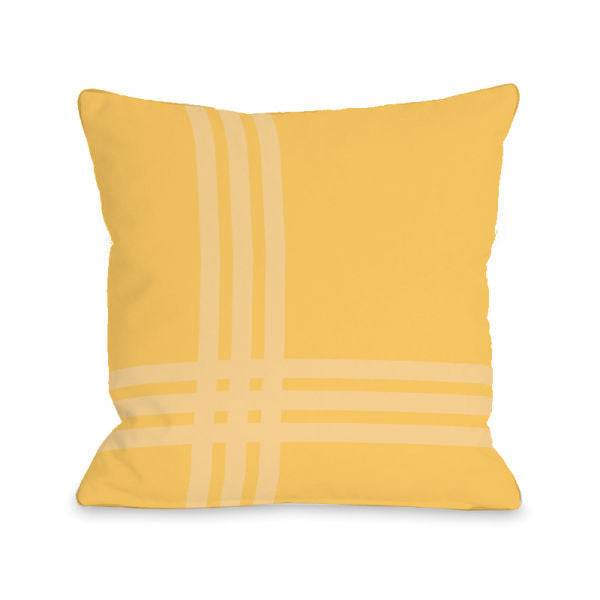 Plaid Pop Dandelion Outdoor Throw Pillow by OBC