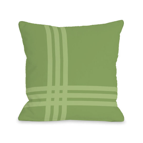 Plaid Pop Olive Outdoor Throw Pillow by OBC